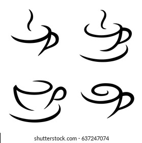 Vector coffee logos. Isolated background.
