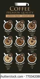 Vector coffee menu card for different types of coffee with a picture of the cups, top view with price on black background