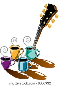 Vector coffee music guitar design