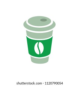 vector coffee on paper cup illustration,  hot cafe, disposable container