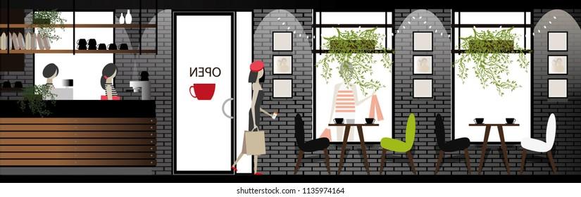 vector coffee shop design