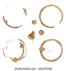 Vector Coffee Stain Rings Set Isolated On White Background for Grunge Design