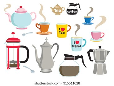 Vector coffee and tea