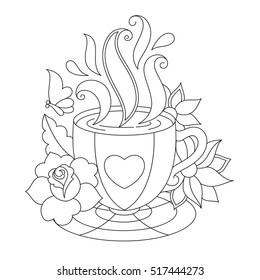 Coffee Cup Coloring Page High Res Stock Images Shutterstock