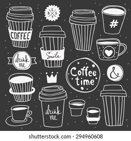 "Vector ""Coffee time"" set. Plastic and paper coffee and tea cups. Coffee to go. Take away. ""Drink me"" and ""Smile"" lettering. Hand drawn elements on chalk board. Good for display window, t-shirt print"