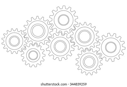 Vector Cog wheel gear mechanism close-up. White background.