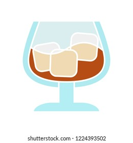 vector cognac or whiskey icon. Flat illustration of alcohol drink. alcohol beverage isolated on white background. soft drink sign symbol