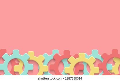 Vector cogs gear colorful art background. Technology mechanism clipart