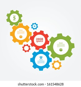 Vector cogwheel template. Cogwheel connection, teamwork. Colorfully creative template with space for your content.