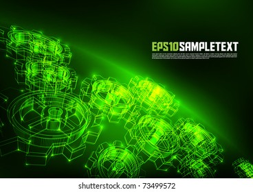 Vector Cogwheel Wire Frames Glowing in the Dark