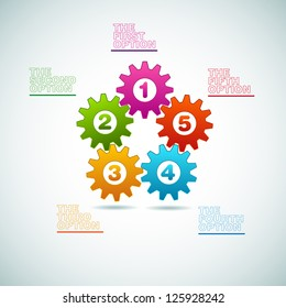 Vector Cogwheels progress icons - one two three four five - teamwork template