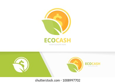 Vector coin and leaf logo combination. Money and eco symbol or icon. Unique cash and organic logotype design template.