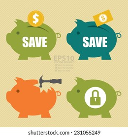Vector : Coin Putting Into A Piggy Bank, Cash Putting Into A Piggy Bank, Broken Piggy Bank With Hammer and Piggy Bank Secured With Lock Sign