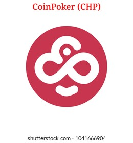 Vector CoinPoker (CHP) digital cryptocurrency logo. CoinPoker (CHP) icon. Vector illustration isolated on white background.