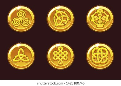 Vector Coins with celtic symbols. Cartoon set celtic icons. Objects on separate layers.