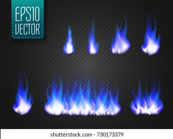 Vector cold fire flames isolated on transparent background. Special light effect for your design.