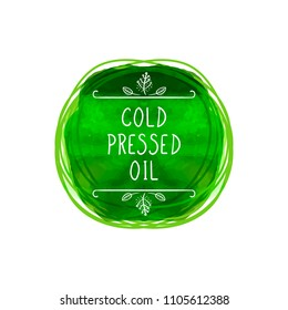 Vector Cold Pressed Oil Label, Green Watercolor Circle, Handwritten Letters and Scribble Lines?