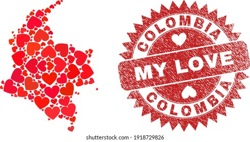 Vector collage Colombia map of love heart elements and grunge My Love seal. Collage geographic Colombia map created with love hearts. Red rosette seal with grunge rubber texture and my love tag.