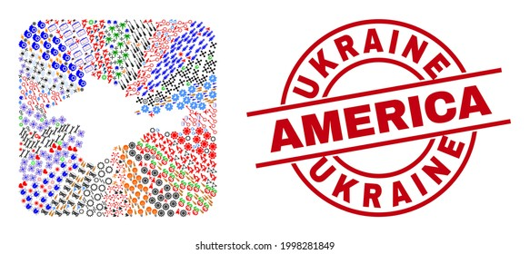 Vector collage Crimea map of different pictograms and Ukraine America seal stamp. Collage Crimea map designed as carved shape from rounded square shape. Red round seal with Ukraine America text.