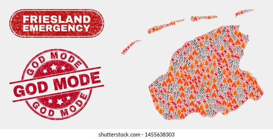Vector collage of disaster Friesland Province map and red round scratched God Mode seal. Emergency Friesland Province map mosaic of fire, power shock icons. Vector collage for emergency services,