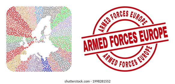 Vector collage European Union map of different symbols and Armed Forces Europe stamp. Mosaic European Union map created as carved shape from rounded square shape.