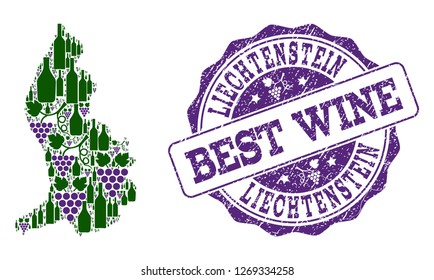 Vector collage of grape wine map of Liechtenstein and grunge stamp for best wine. Map of Liechtenstein collage designed with bottles and grape berries.