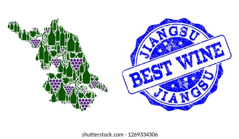 Vector collage of grape wine Map of Jiangsu Province and grunge stamp for best wine. Map of Jiangsu Province collage formed with bottles and grape berries.