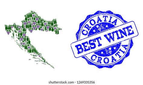 Vector collage of grape wine map of Croatia and grunge stamp for best wine. Map of Croatia collage created with bottles and grape berries.