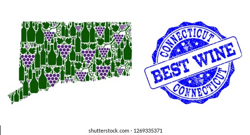 Vector collage of grape wine map of Connecticut State and grunge stamp for best wine. Map of Connecticut State collage formed with bottles and grape berries.