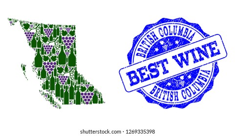 Vector collage of grape wine map of British Columbia Province and grunge seal for best wine. Map of British Columbia Province collage composed with bottles and grape berries.