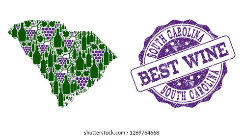 Vector collage of grape wine map of South Carolina State and grunge seal for best wine. Map of South Carolina State collage created with bottles and grape berries.