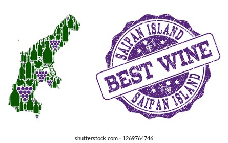 Vector collage of grape wine map of Saipan Island and grunge seal for best wine. Map of Saipan Island collage designed with bottles and grape berries.