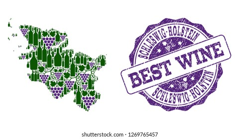 Vector collage of grape wine map of Schleswig-Holstein State and grunge stamp for best wine. Map of Schleswig-Holstein State collage created with bottles and grape berries.