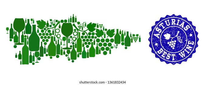 Vector collage of grape wine map of Asturias Spanish Province and blue grunge stamp for best wine awards. Map of Asturias Spanish Province collage designed with green bottles and grape berries.
