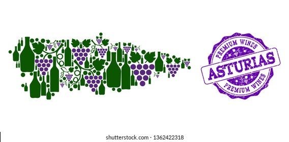 Vector collage of grape wine map of Asturias Province and purple grunge seal stamp for premium wines awards. Map of Asturias Province collage designed with bottles and grape berries.