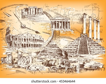 Vector collage of graphic images of the ruins of ancient civilizations and ancient architecture of different peoples and eras.