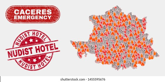 Vector collage of hazard Caceres Province map and red round textured Nudist Hotel watermark. Emergency Caceres Province map mosaic of burning, energy hazard items.
