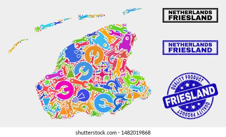 Vector collage of industrial Friesland Province map and blue watermark for quality product. Friesland Province map collage designed with tools, spanners, science icons.