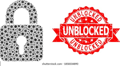 Vector collage lock of virus, and Unblocked dirty ribbon stamp. Virus elements inside lock collage. Red stamp seal includes Unblocked caption inside ribbon.