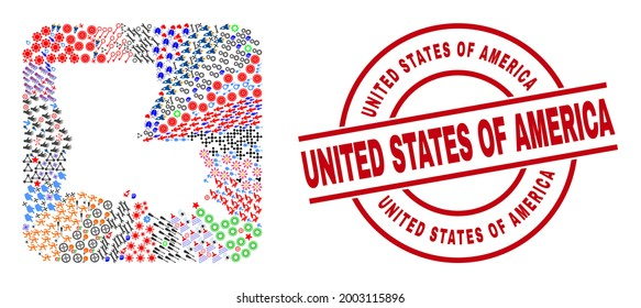 Vector collage Louisiana State map of different pictograms and United States of America seal stamp. Collage Louisiana State map designed as carved shape from rounded square shape.
