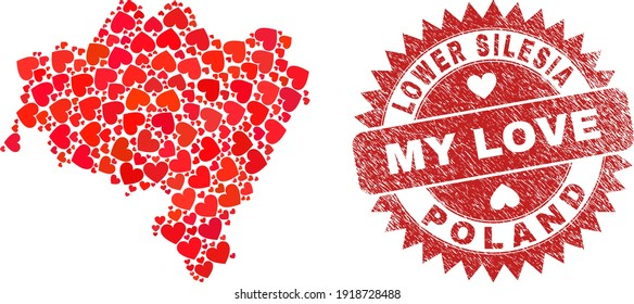 Vector collage Lower Silesia Province map of lovely heart items and grunge My Love badge. Collage geographic Lower Silesia Province map constructed using lovely hearts.