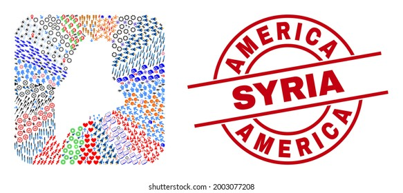 Vector collage Maine State map of different icons and America Syria stamp. Mosaic Maine State map created as carved shape from rounded square shape. Red round seal with America Syria text.