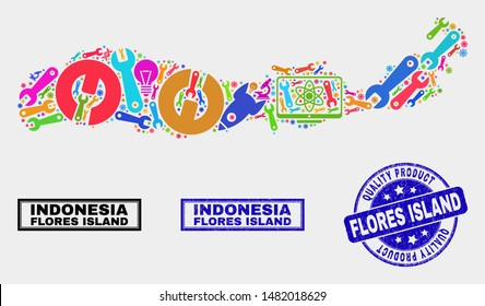 Vector collage of service Flores Island of Indonesia map and blue seal for quality product. Flores Island of Indonesia map collage composed with tools, spanners, science symbols.