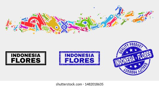 Vector collage of service Flores Islands of Indonesia map and blue seal for quality product. Flores Islands of Indonesia map collage created with tools, wrenches, science symbols.