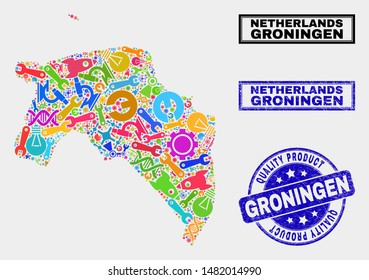 Vector collage of service Groningen Province map and blue stamp for quality product. Groningen Province map collage constructed with tools, wrenches, production symbols.