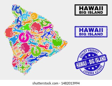 Vector collage of service Hawaii Big Island map and blue watermark for quality product. Hawaii Big Island map collage designed with tools, wrenches, industry symbols.