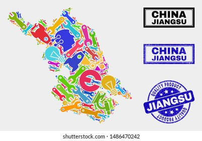 Vector collage of service Jiangsu Province map and blue stamp for quality product. Jiangsu Province map collage created with equipment, wrenches, production symbols.