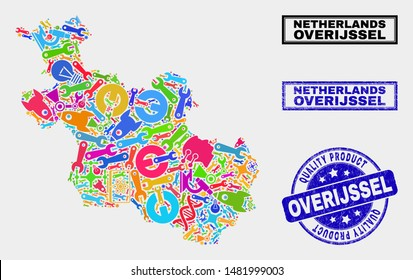 Vector collage of service Overijssel Province map and blue watermark for quality product. Overijssel Province map collage made with equipment, wrenches, production symbols.