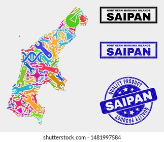 Vector collage of service Saipan Island map and blue stamp for quality product. Saipan Island map collage constructed with equipment, wrenches, production symbols.