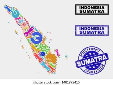 Vector collage of service Sumatra map and blue stamp for quality product. Sumatra map collage formed with tools, spanners, science symbols. Vector abstract collage of Sumatra map for service business,